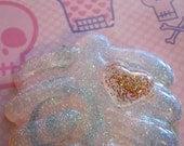 Glitter Ribcage with Tiny Glitter Heart Pendant