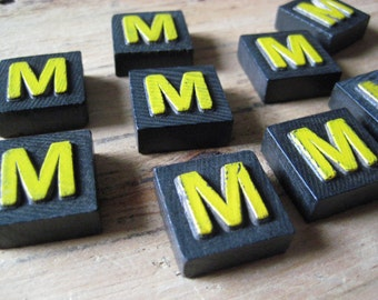 Vintage Wood Anagram Game Pieces, M Initial, Create your own word or saying, Word Art, Home Decor, Custom Order