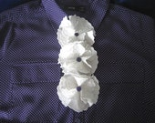 Vintage Ruffle Blouse Adornment - 3 White Ruffles - Button to Blouse to Change the Look