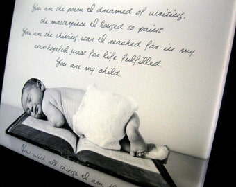 Personalized Photo Wall Art Child Baby with text, sayings, quotes Canvas Art 10X14 Geezees Canvas Art