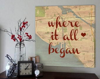 Wedding Gift: Canvas Love Map Art Heart Personalized Where It All Began Custom Engagement Gift, Gift for Him, Personalized Couple