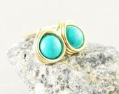 Turquoise Studs, Aqua Posts, Turquoise Post Earrings, December Birthday