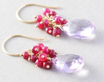 Amethyst Ruby Cluster Earrings, July Birthstone Earrings, Handmade