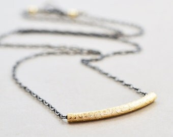 Gold Silver Simple Necklace, Everyday Necklace, Minimalistic Metallic Necklace