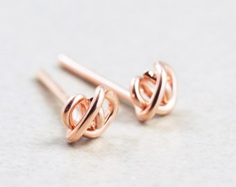 Rose Gold Knot Post Earrings, Metallic Tiny Studs, Love Knots, Bridesmaid Gift