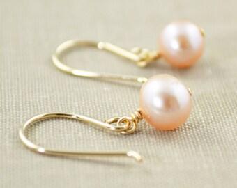 Pink Pearl Dangle Earrings, June Birthstone, Bridemaid Earrings, Pearl Drop Earrings