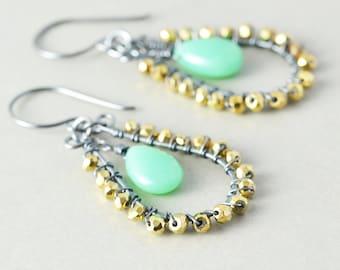 Chrysoprase Dangle Earrings, Mint Green Drop Earrings, Pyrite Earrings