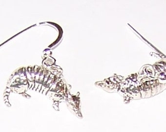 Sterling Silver 3D ARMADILLO  Earrings -  Wildlife, Totem