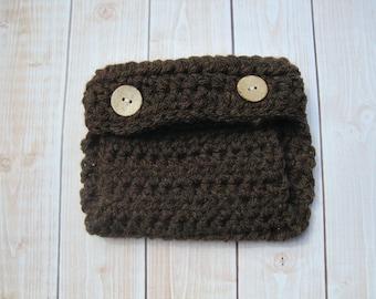 Crochet Baby Diaper Cover, Baby Boy Diaper Cover, Newborn Diaper Cover, Infant Diaper Cover, Baby Girl Diaper Cover, Baby Photo Prop, Brown