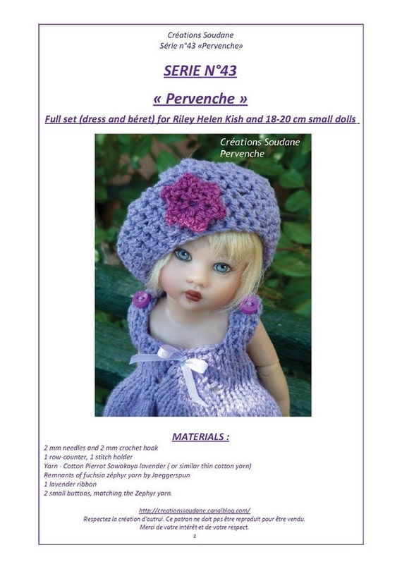"""43. English and  French INSTANT DOWNLOAD PDF Knitting Pattern Helen Kish Riley 8"""" artist doll"""