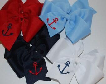 Embroidered Anchor Hair Bow Boutique Big Bow Nautical Ocean Preppy