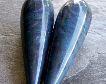 Vintage Large Blue Marble Italian Lucite Teardrops-Denim Blue-No Hole-2
