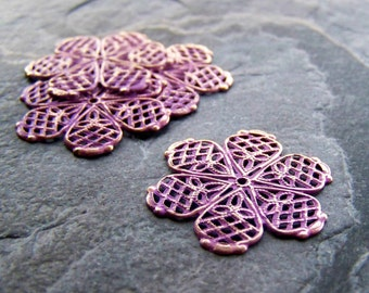 Large Purple Washed Patina Shabby Chic Gold Metal Large Filigree Flower Stamping-4