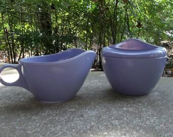 Vintage Melamine Sugar Bowl & Creamer WINDSOR Lilac Melmac Pitcher Mid Century Modern Farmhouse Tea Set RV Dishes