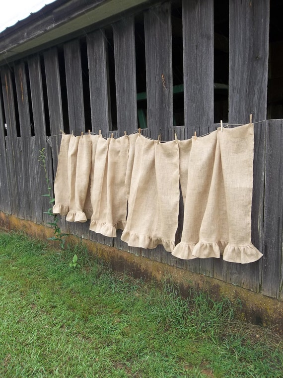 Reserve Burlap Curtains Pair Farmhouse Window By Misshettie