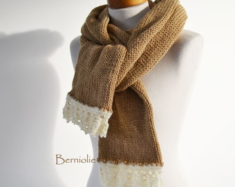 Knitted scarf in camel light brown with creme lace trim and pearly beads K95