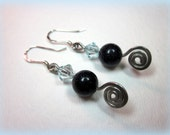 Blue goldstone and crystal earrings