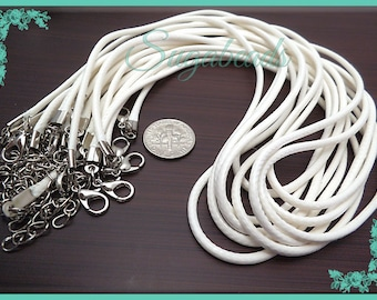 10 White Cord Necklaces with Extenders 19 inch