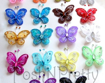 Set of 10 - Glitter 2.5 inch butterfly applique with wings- pick Colors