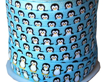 Designer 5 Yards 5/8 Print Fold Over Elastic FOE - baby penguin on an ice blue