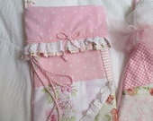 French Country  Shabby and  Chic  Christmas Stocking  Lined  Personalized Pinks and Whites