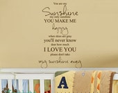 You Are My Sunshine My Only Sunshine Nursery or Toddler Bedroom Decor - Vinyl Lettering - Vinyl Wall Accent Art Words Stickers Decals 1550