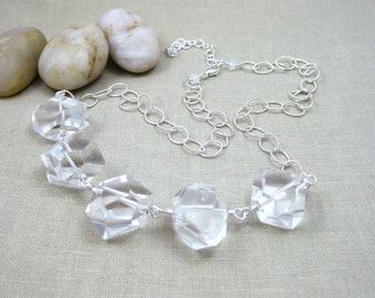 Chunky Necklace Rock Crystal Quartz Clear Gemstone Necklace Sterling Silver Statement Necklace Hollywood Glamour Fashion Necklace - Glamour