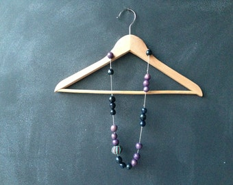Purple Eco Necklace. Tag and Natural Fibers. Organic.