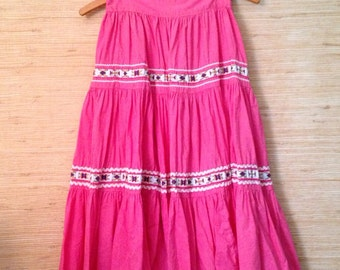 SALE Vintage Tiered Folk / Square Dance Skirt with Ribbon Trim