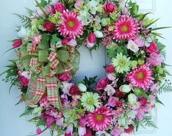Only one, Custom order, Large Beautiful Spring wreath,   Door wreath,  lime & pink, Round wreath, Front door wreath, floral wreath