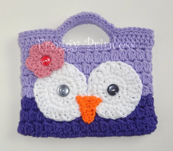 Purple Owl Purse Hand Crocheted Toddler Bag Tote READY TO SHIP