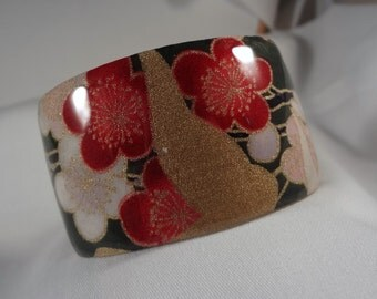 Red Blossoms with Gold Wide Cuff Bracelet (CCB153)