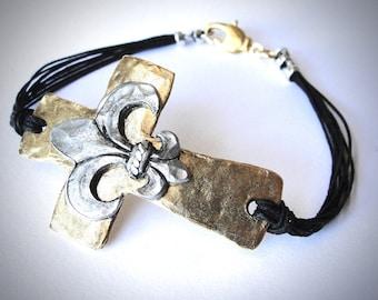 Sideways Cross and Fleur de Lis bracelet in Gold Bronze, Inspiration, gift for woman, religious bracelet, Christian bracelet, gift for her