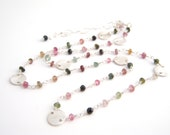 Rainbow Tourmaline Strand Necklace, Rosary Style, Sterling Silver, Green, Pink, Black