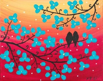 Birds painting Turquoise flowers red yellow wall art wall decor Impasto Palette Knife Acrylic painting on canvas gift for her by qiqigallery