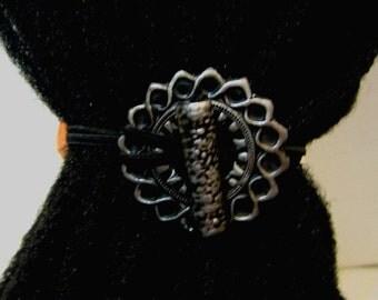 Dreadlocks Hair tie or Ponytail Holder for Dreads or Thick Hair or Sisterlocks Silver Edged Medallion
