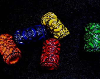 Dread Beads Bold Colored  Black Embossed Dreadlock  Beads  Set of 5   You Choose Hole Size