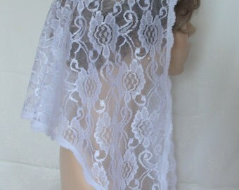 The Catalina Style, PREMIUM Chapel Veil, White Floral Swirl Lace Mantilla Headcovering