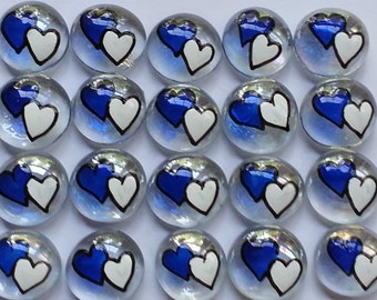 Hand painted glass gems party favors art  white and blue  WEDDING HEARTS