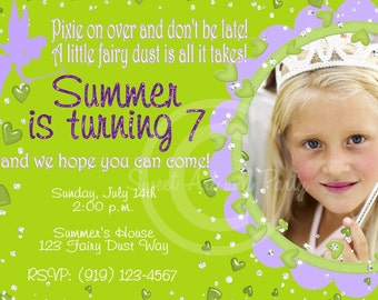 Tinker Fairy Custom Party Photo Invitation design DIY you u print digital Printable birthday girl green lavender
