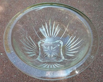 "Vintage Hazel Atlas Depression Glass Small 8"" Square Bottom Starburst Mixing Bowl"