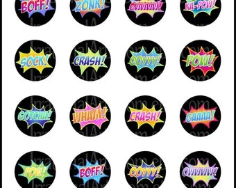 INSTANT DOWNLOaD SH Power Words 1.5inch Bottlecap Digital Collage Sheets Super Hero fighting words PoW WHaM BoFf Thunk