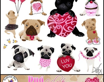 Pug Valentine Pug Dog Graphics set 3 INSTANT DOWNLOAD with 10 digital graphics with hearts stamps balloon cupcake bees and more