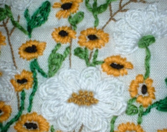 Daisey and Sunflower Pillow Cover Wool Hand Embroidery