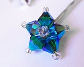 Star Hair Pin - Shooting Star - Metallic Blue Silver Swarovski Crystal Hair Accessory