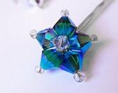 Star Hair Pin - Shooting Star - Metallic Blue Silver Swarovski Crystal Hair Accessory