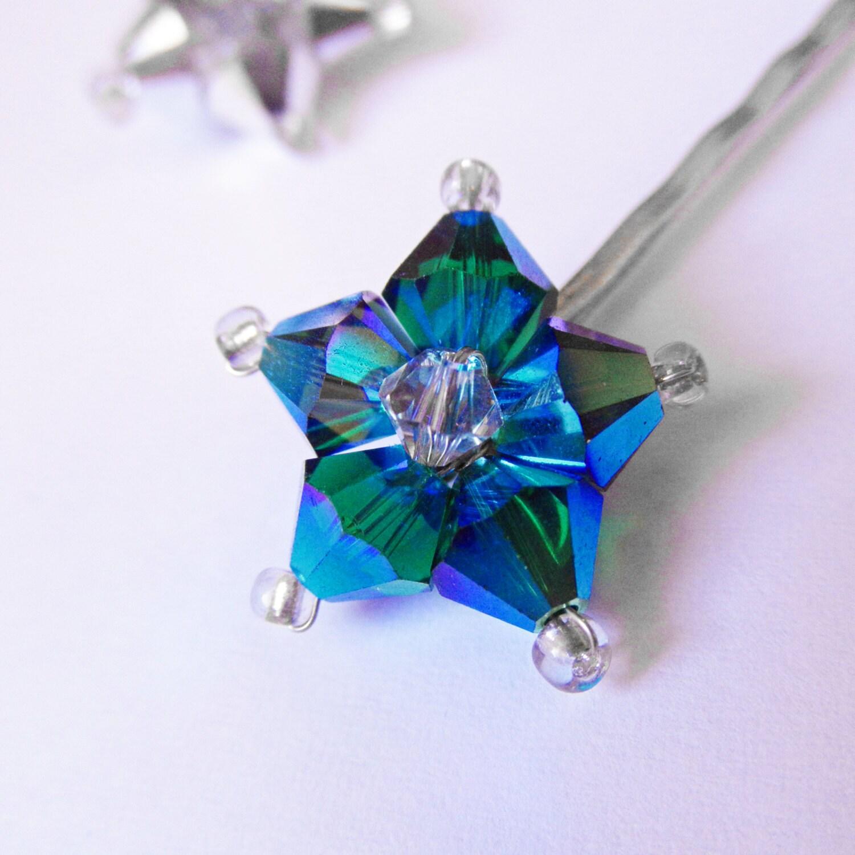 Star Hair Pin Shooting Star Metallic Blue Silver Swarovski