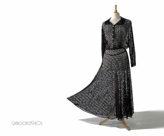 RESERVED for Jo - Vintage 1930's Novelty Lace Dress // Black Sweeping Skirt 30s Dress L