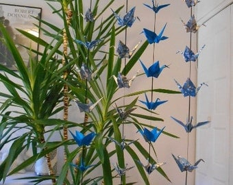 A Set of Four Hanging Decor with 10 Cranes on each ---Blues