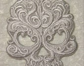 "BAROQUE GOTHIC SKULL - Silvery Gray- Iron on Patch - Applique -   5.25"" X 4.5"""
